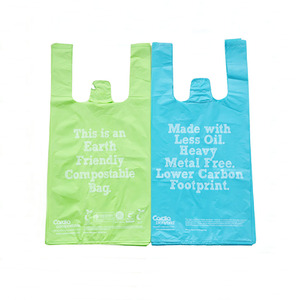 Competitive price biodegradable carrier bag with handle EN13432 BPI OK compost home ASTM D6400 certificates