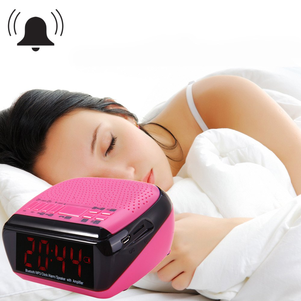 Portable Desktop Alarm Clock Bluetooth V2.1 Stereo Speaker Support FM Radio Time Display TF Card Slot wireless bluetooth speaker