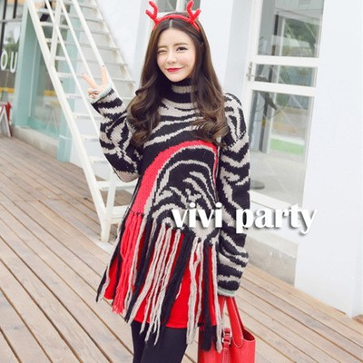 High Quality Wome Fashion Sweater Turtleneck Color Block Tassels Lap Casual Loose Warm font b Winter