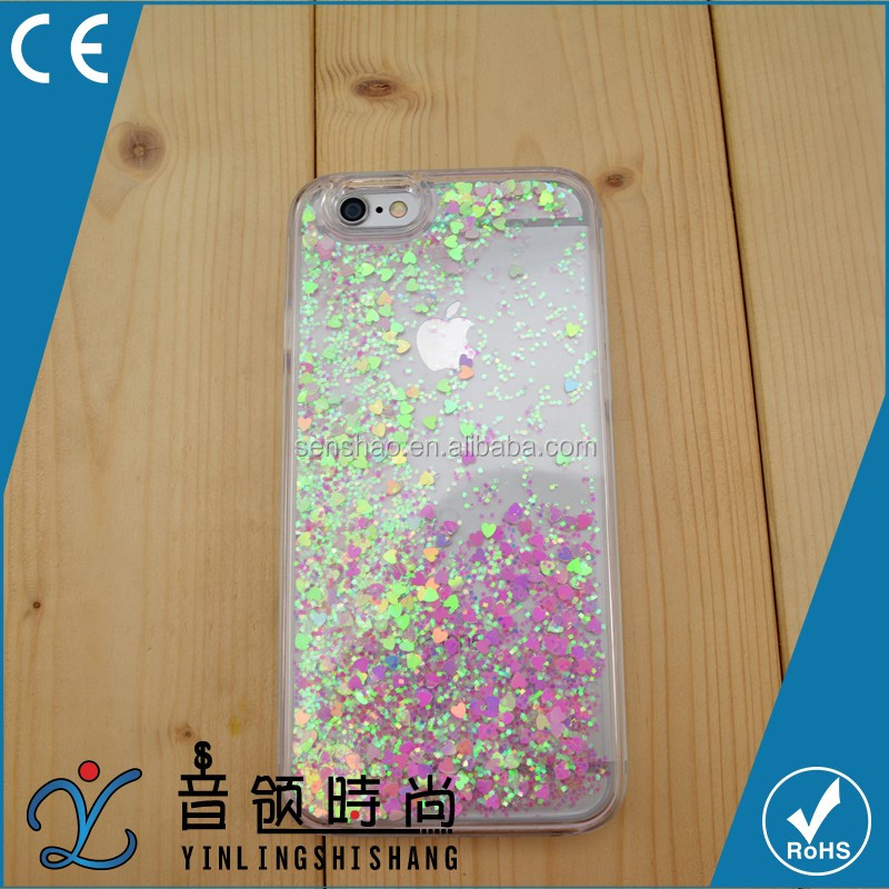High Quality Cell Phone <strong>Accessory</strong> Clear Moving Heart Hard PC Case Sand Dynamic Glitter Flowing Liquid Start Case For IPhone 6 6s