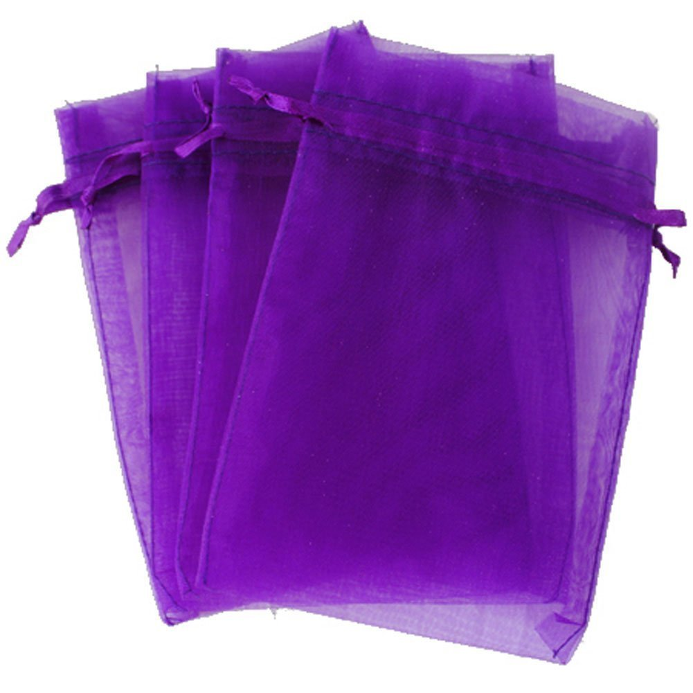 """Organza Bags, G2PLUS 100PCS 10X15CM (4X6"""") Drawstring Organza Jewelry Favor Pouches Wedding Party Festival Gift Bags Candy Bags (Purple)"""