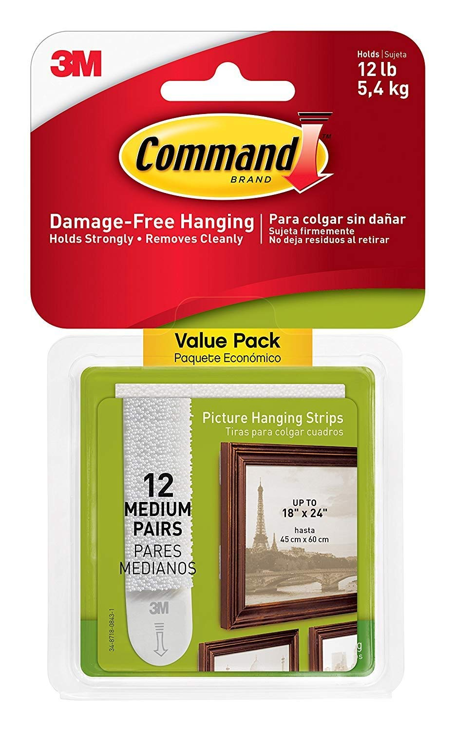 Command 3M Picture & Frame Hanging Strips Sets Medium Size White Damage-Free, White, 36-Pair