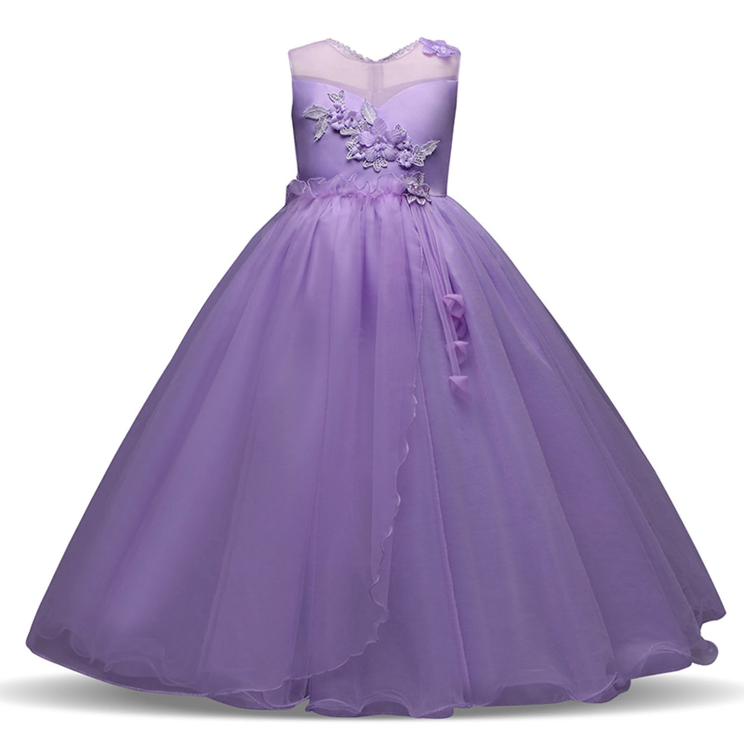 2fadda5a0 Get Quotations · Drawingo Long Gown Children Lace Princess Girl Dress For  Wedding Birthday Party Teenage Girl Kids Evening