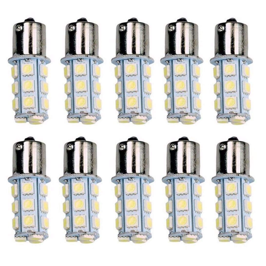 Quaanti Car Wide Light,10 x 6000K White 1156 BA15S 18SMD 5050 LED Turn Signal Backup Reverse Light Bulbs Part of The car (Silver)