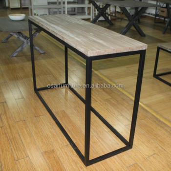 Hall Furniture Wood Metal Leg Industrial Style Console Table