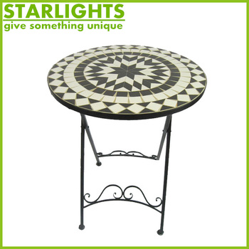 vintage mosaic garden table with metal legs