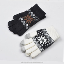 TOROS Passed BSCI test fashion touch screen acrylic cheap winter knit gloves