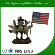 Frog and duck on Base Decorative Figurine Resin life size statue Independence Day