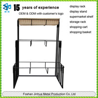 New metal display of wrought iron shelves/3-tier floor basket stand/laundry basket stand