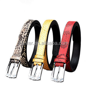 Jranter Colorful Genuine Python Leather Women Belt Stainless Steel Buckle