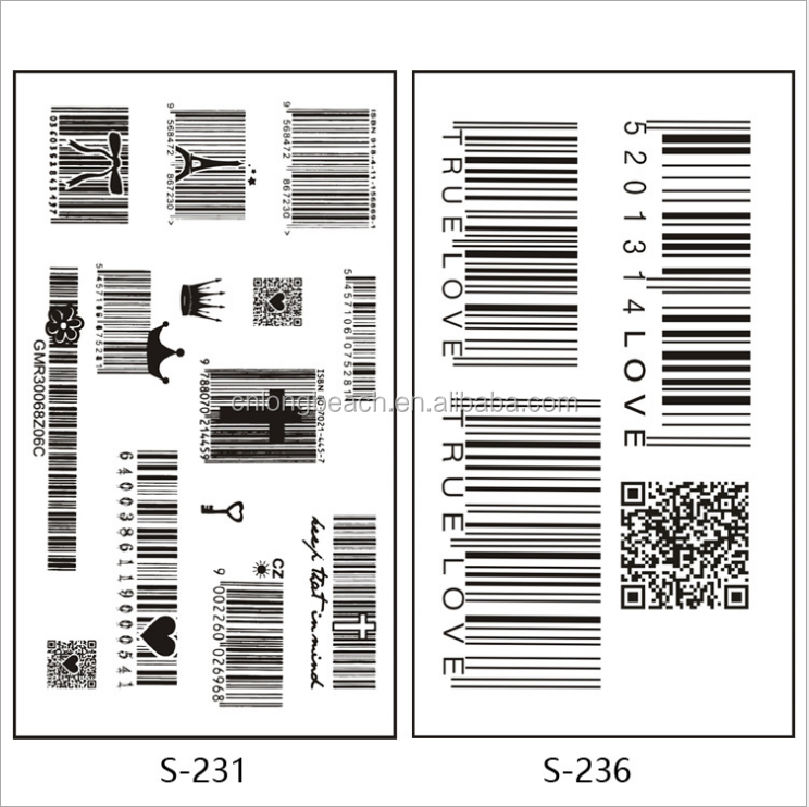 bar code notation key body Tattoo Stickers /Safe Waterproof and allergy Temporary tattoo sticker