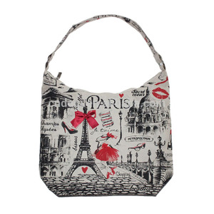Best selling custom printing polyester fabric souvenir tote bag hobo bag