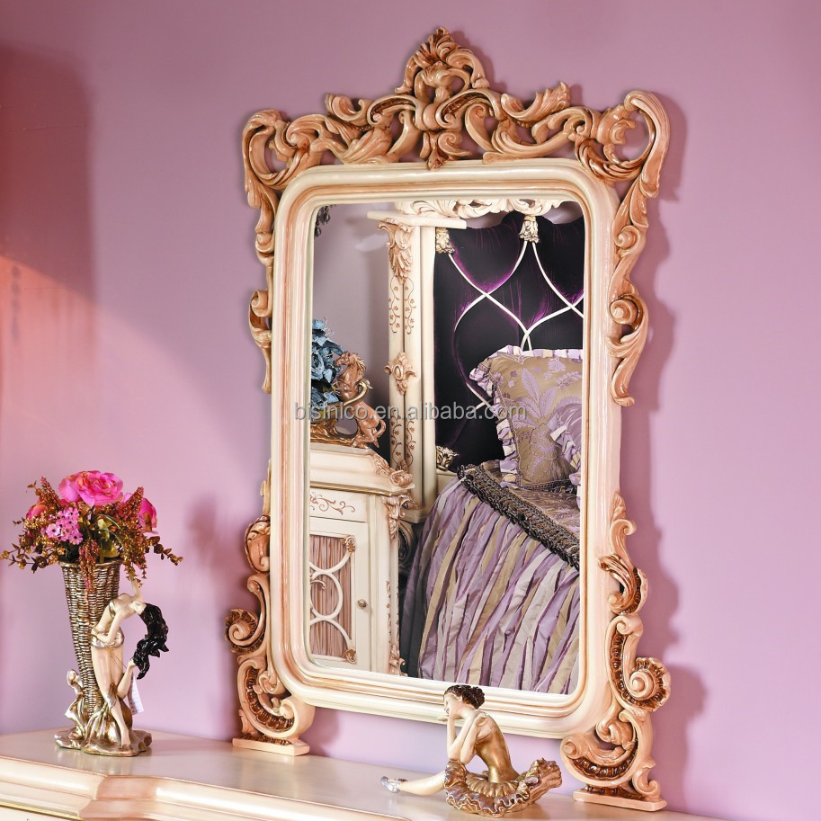 French baroque furniture - Bisini French Baroque Bedroom Furniture Luxury Exquisite Wooden Carved Dressing Mirror European Classic Castle
