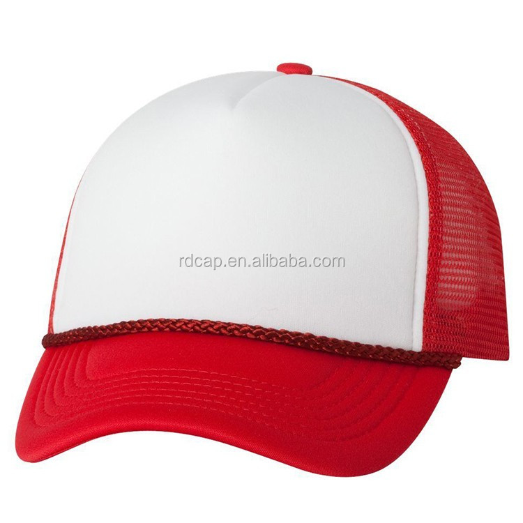 China manufactory wholesale promotional sports baseball trucker mesh hat cap cheap red white foam mesh trucker cap