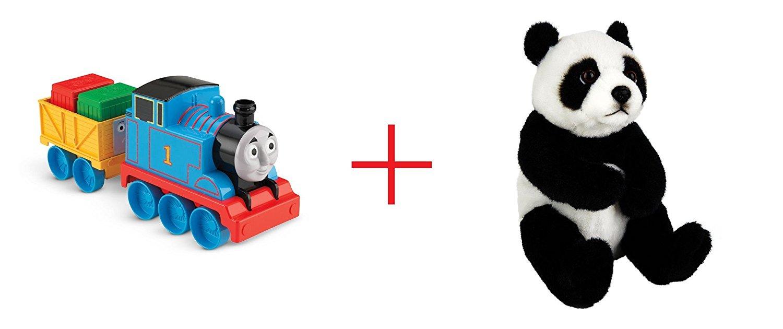 Fisher-Price My First Thomas & Friends Thomas Engine and Toys R Us Plush 7.5 inch Panda Bear - Black/White - Bundle