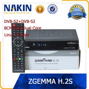 Genuine Zgemma H2S dvb-s2+dvb-s2 dual core satellite receiver with linux  operating system