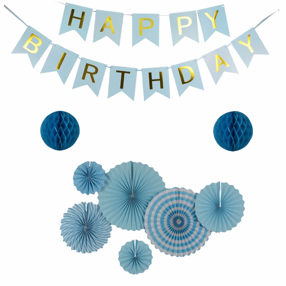 Neue Ankunft Hellblau Set Happy Birthday Banner Party Dekorative Papier Handwerk Seidenpapier Fan Hängen Dekor Honeycomb Balls