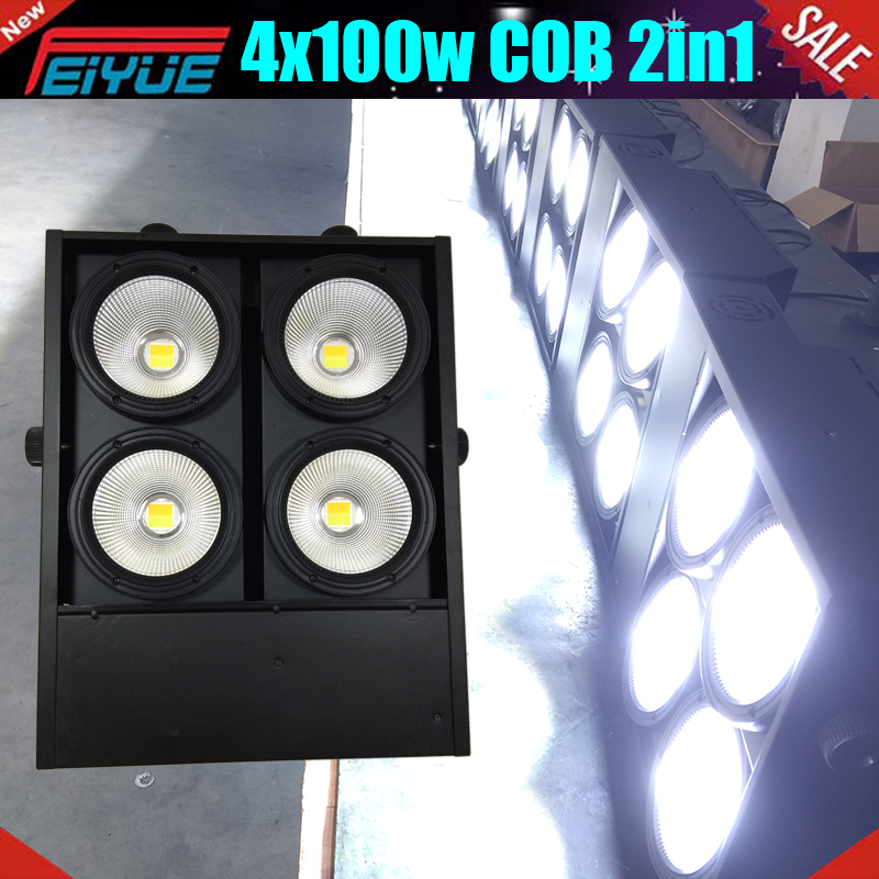 DMX Control WC/WW 2in1 4 Eyes Led Audience Blinder Cob 4x100w Rgbw 4in1 Led Blinder 400w