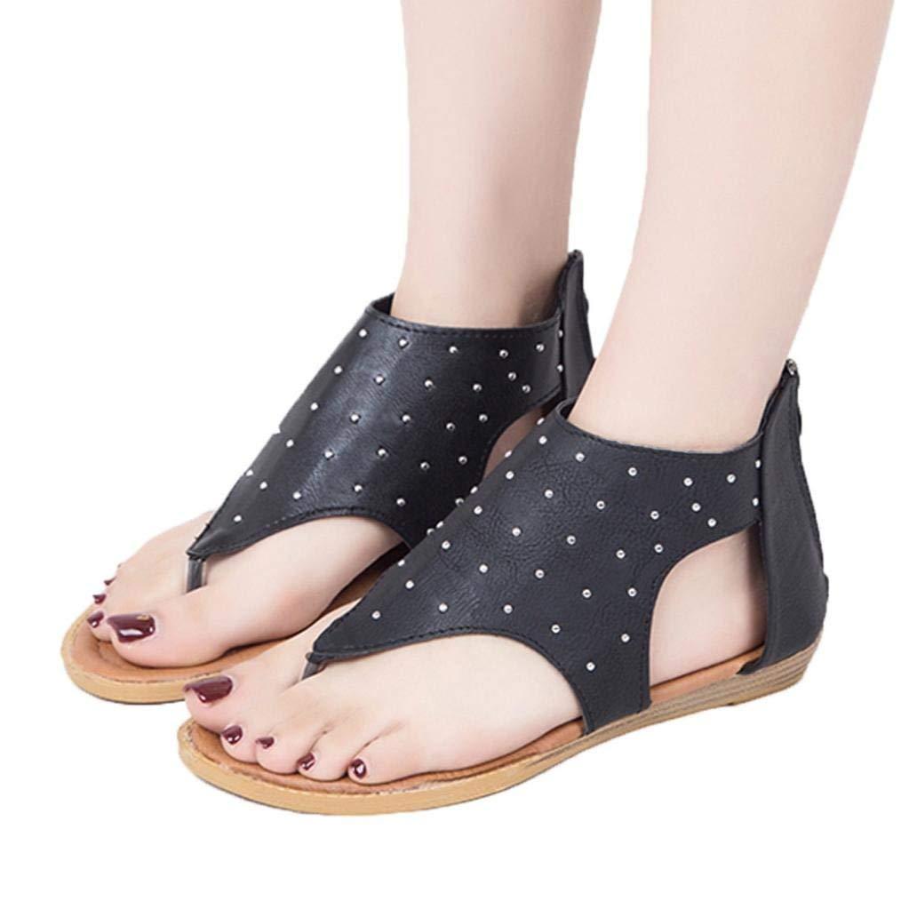 1d1608d62 Get Quotations · Gyoume Bohemia Sandals Women Flat Sandals Roman Sandals  Zipper Sandals Low Heel Sandals Gladiator Casual Shoes
