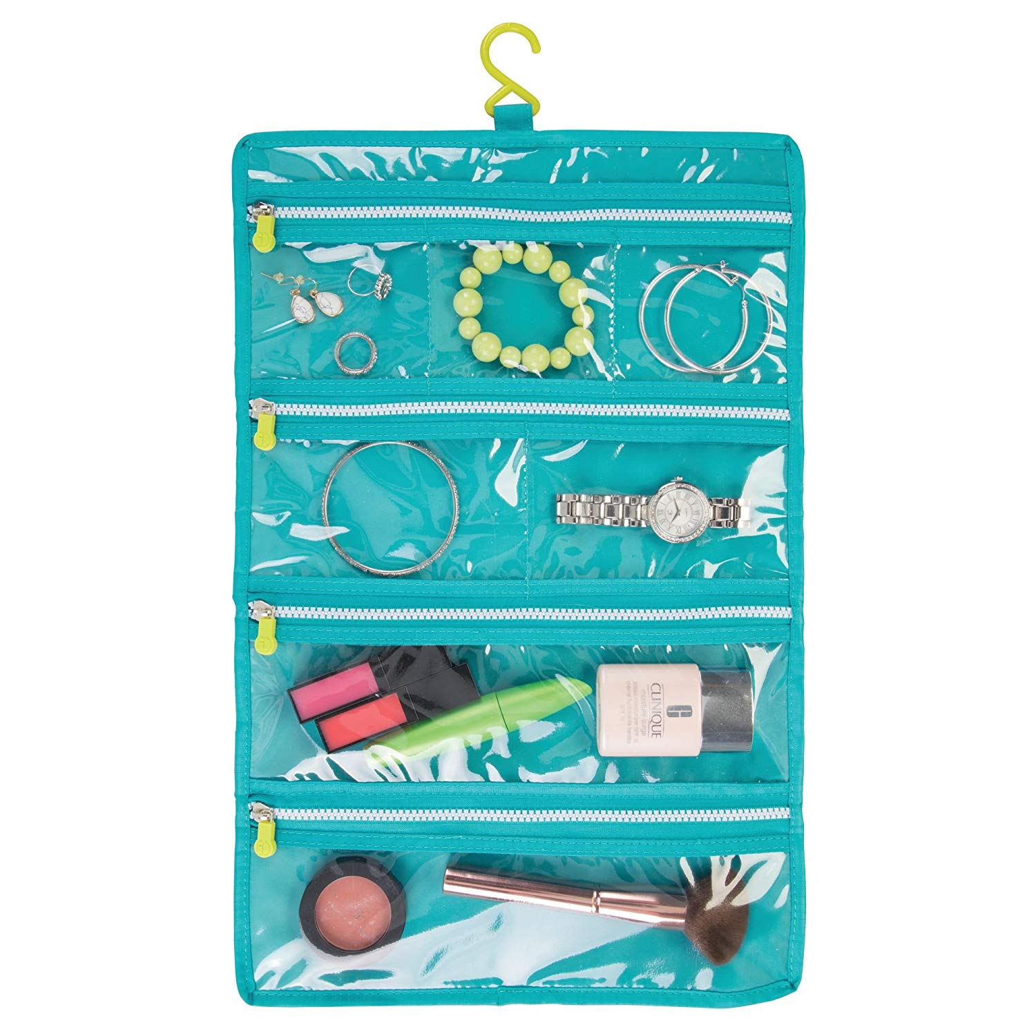 8afdce552 Get Quotations · mDesign Travel Roll Up Makeup Jewelry Organizer Bag:  Elastic Closure, Hanging Hook and 7