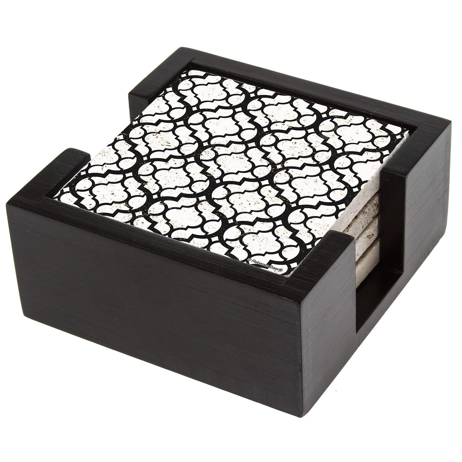 Thirstystone Travertine black Lattice Stone Drink Coaster Set with Holder Included, , Multicolored