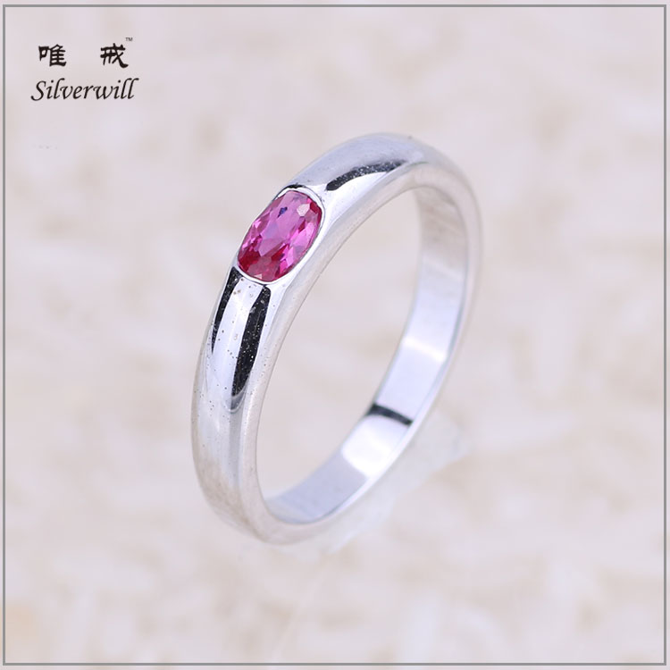 Ruby cubic zircon gypsy setting wholesale sterling silver fashion rings