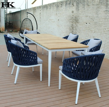 outdoor restaurant teak wooden garden all weather furniture rope chair and table set