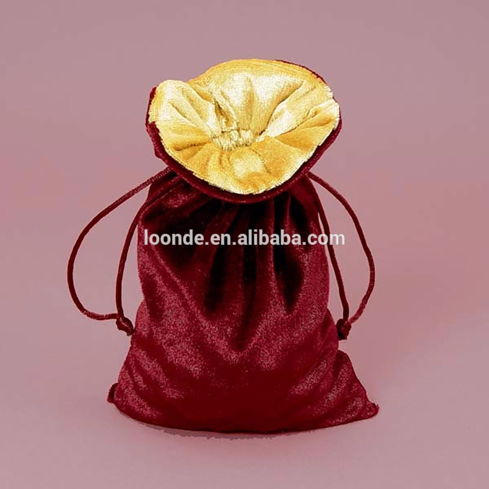 Durable velvet lined double layer velour drawstring pouch bag