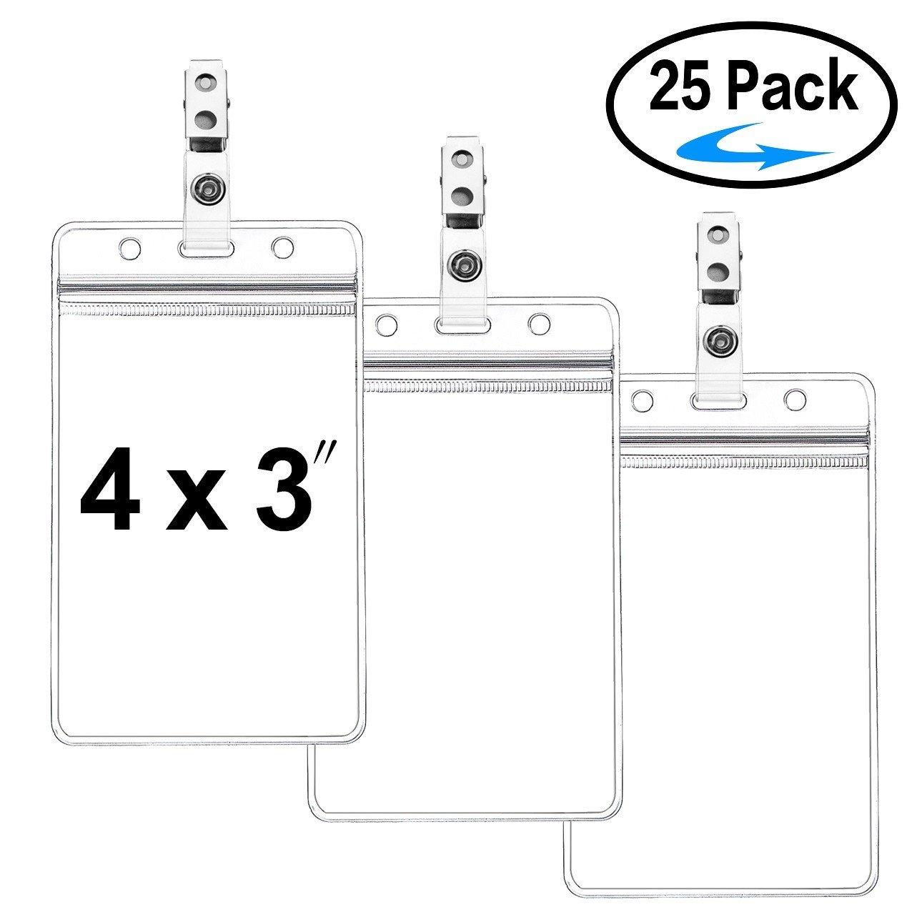 25b85941d0eb Buy ZHEGUI Clear Plastic Vertical Nametag Badge Holders and Metal ...