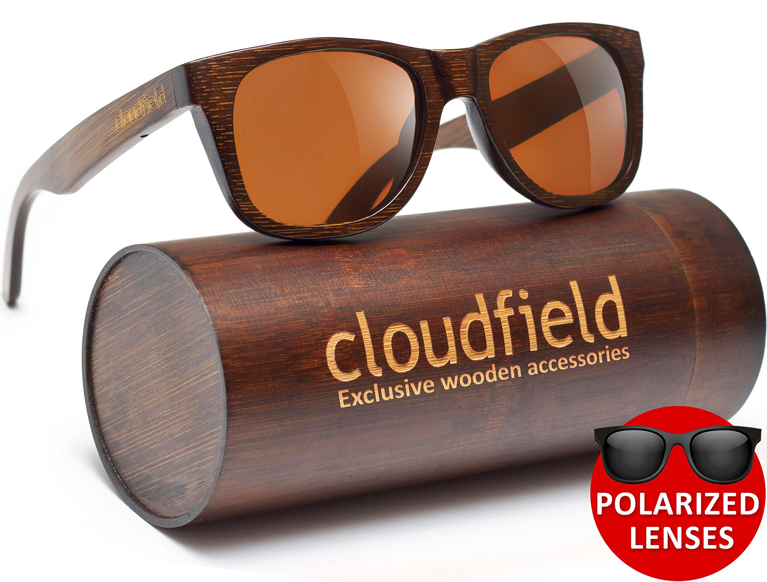 ad25a4052a Get Quotations · Wood Sunglasses Polarized for Men and Women by CLOUDFIELD  - Wooden Wayfarer Style - 100%