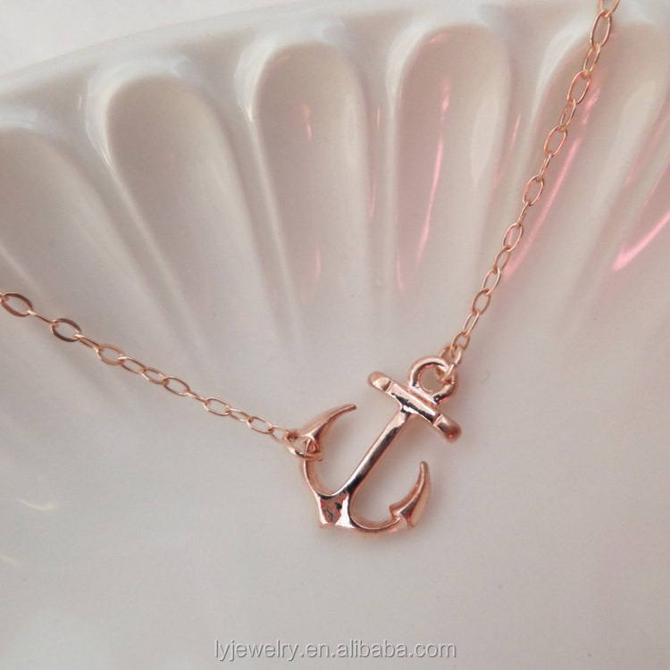 New design fashion Rose Gold Sideways Ships Anchor Necklace LYN0070