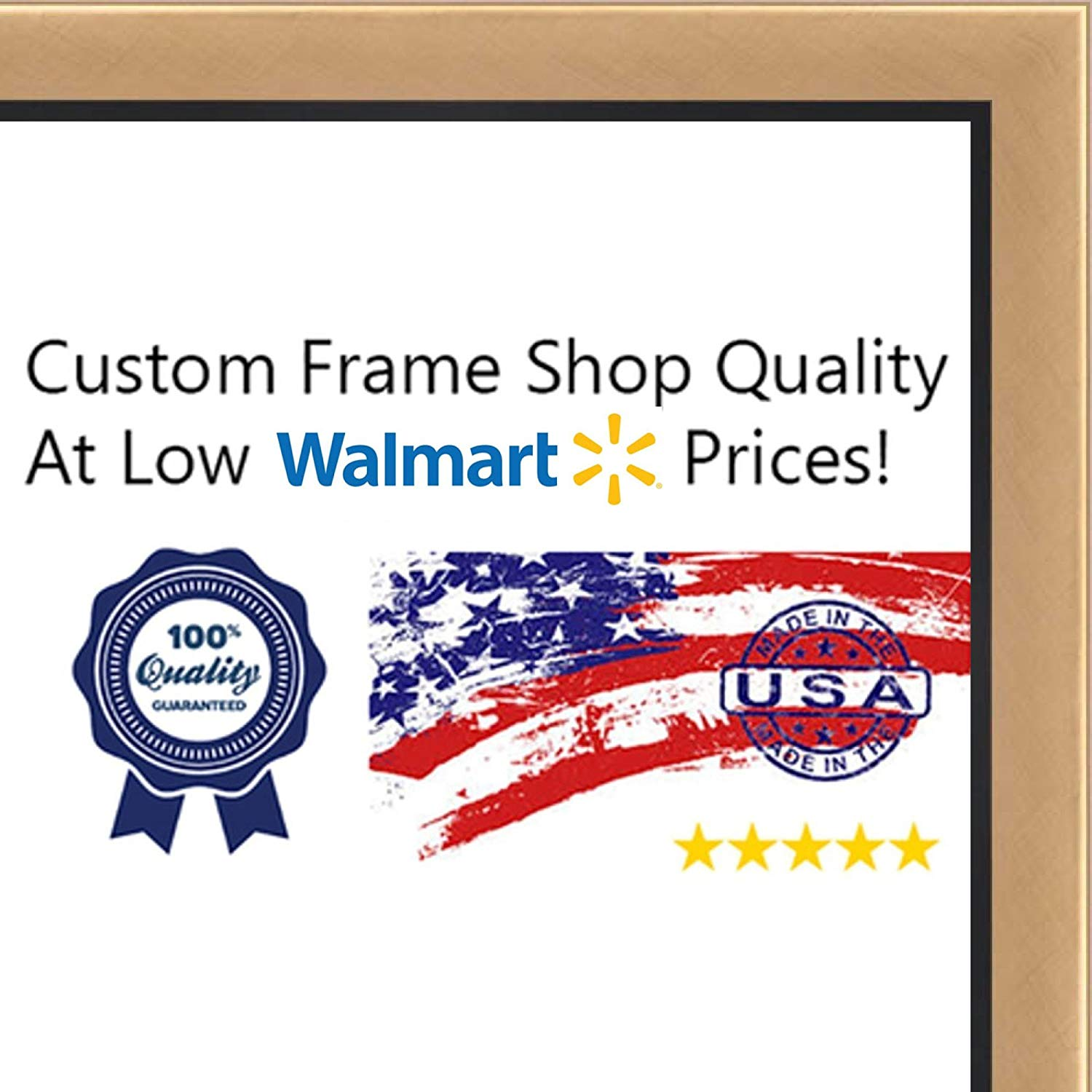 14x18-14 x 18 Gold With Black Lip Solid Wood Frame with UV Framer's Acrylic &