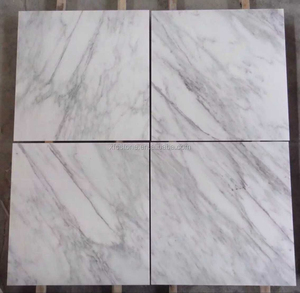 Chinese cheap white marble light brown vein statuary marble 24x24 floor tiles