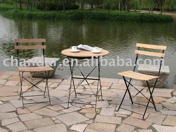 Sedie In Ferro Battuto Pieghevoli : Mobili da esterno cenere di legno in ferro sedia pieghevole e tavolo