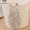 Trendy Fashion Jewelry big gold silver prismatic full with Rhinestone women girl party wedding wear chandelier earring