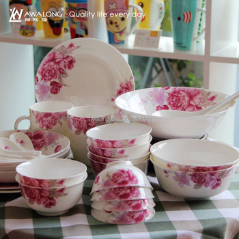 Floral Pattern Chinese Style Fine Porcelain English Dinner Set Fine Bone China Pink Flower Dinnerware & Floral Pattern Chinese Style Fine Porcelain English Dinner SetFine ...