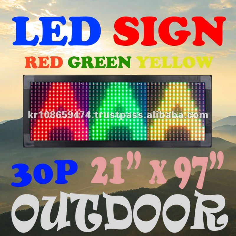 "[3 COLOR] 21""x97"" OUTDOOR LED PROGRAMMABLE SCROLLING DISPLAY SIGN (RPG)"