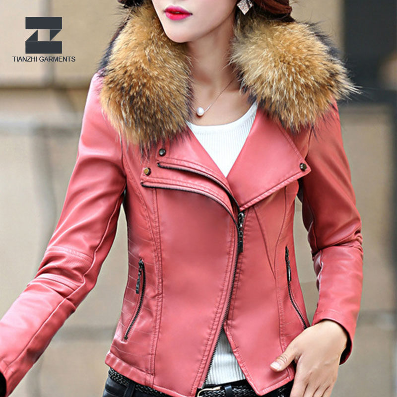 European newest women waterproof quality leather jacket