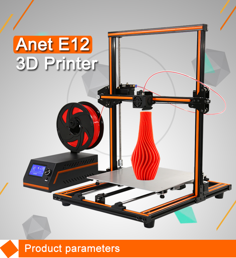 Anet E12 Reprap prusa i3 fdm machine large printing size diy 3d printer