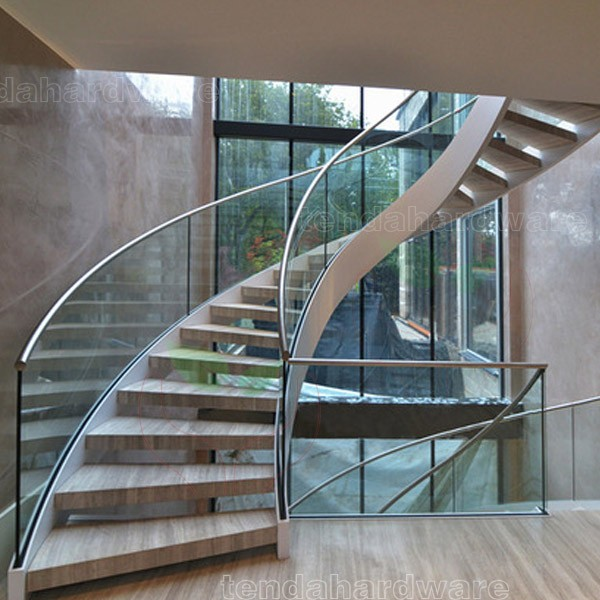 Elegant Custom Double Stringer Wood Tread Curved Stair With Stainless Steel Stringer