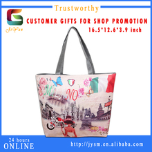 French Color Travel Design Souvenir Tote Bag Fashion Print Women Handbag China Custom Leather Bag