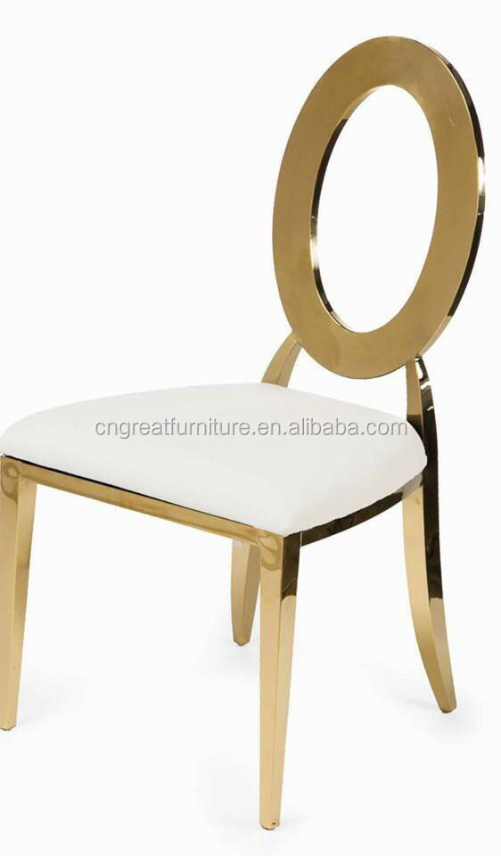 Round Back Rose Gold Wedding Stainless Banquet Chair