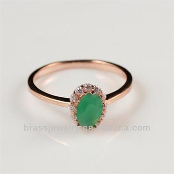 product stone design jewelry fashion rose rings latest cheap plated green simple gold detail