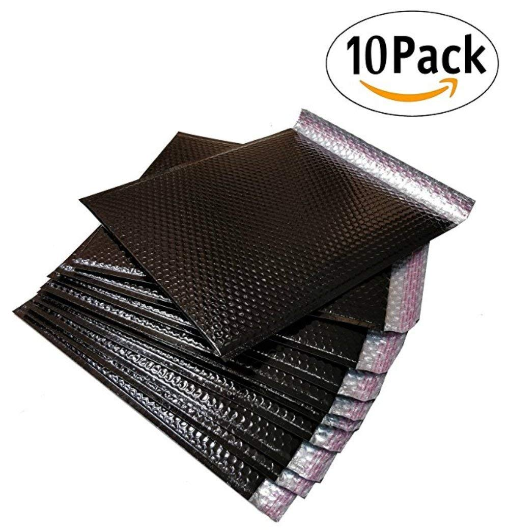 10 Pack Metallic Bubble mailers 7.5 x 11. Black padded envelopes 7 1/2 x 11. Glamour bubble mailers Peel and Seal. Padded mailing envelopes for shipping, packing, packaging.