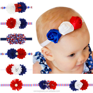 USA National Holiday Headbands National Day Girls Bow Shabby Flower Headbands Hair Accessories Patriots headband