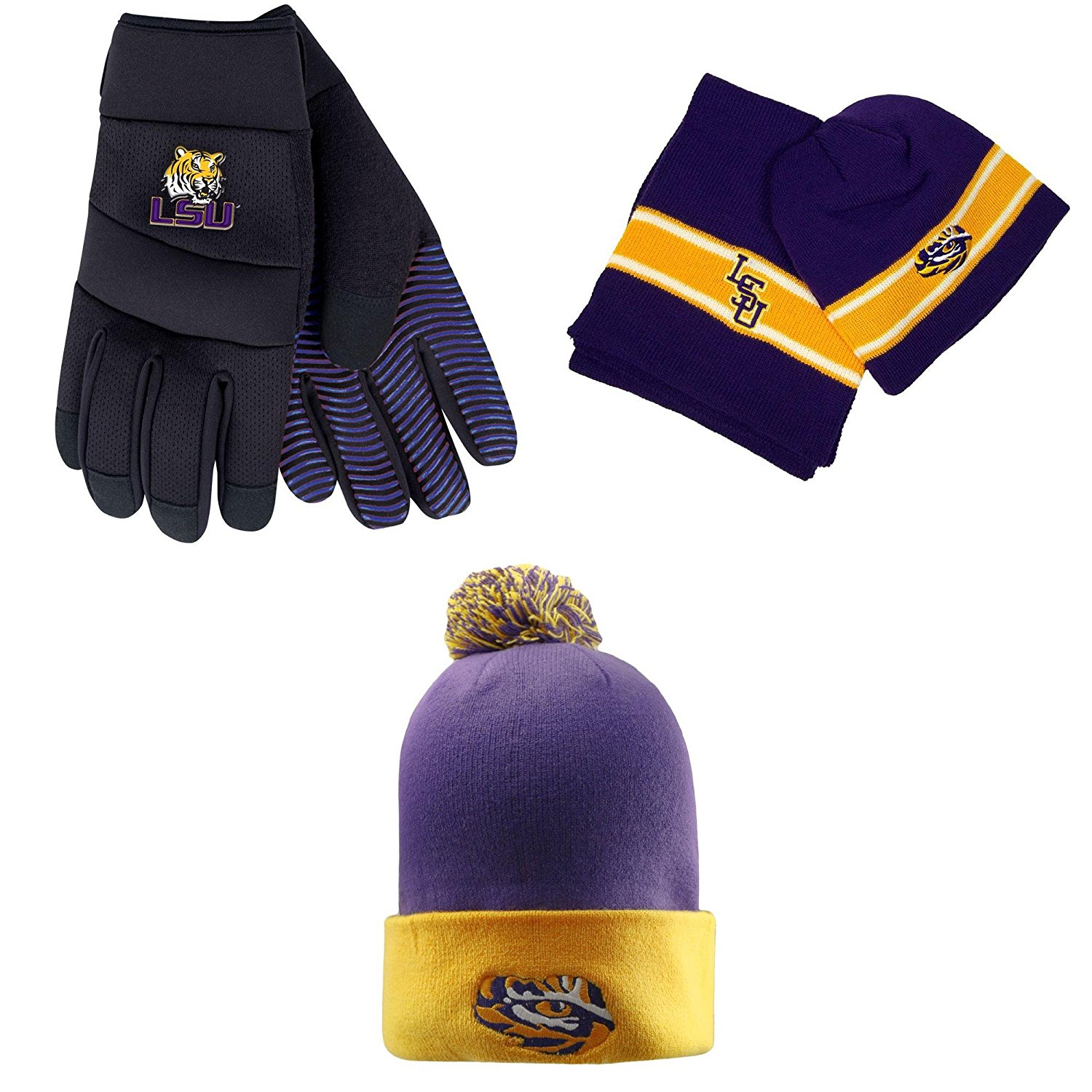 a7a556887b5 Get Quotations · NCAA LSU Tigers Grip Work Glove Ez Hat Scarf Combo And Pom Beanie  Hat 3 Pack