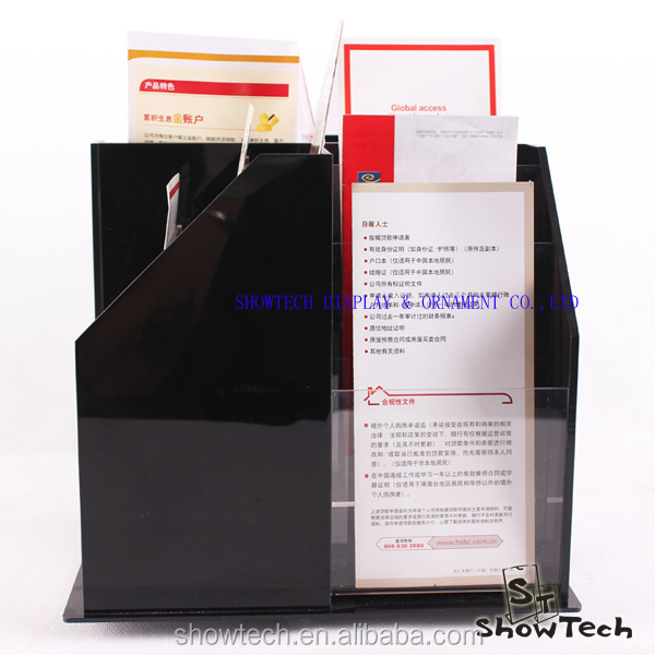 High class Great Material acrylic rotating 1/3 4A brochure 4 pocket black holder display ST-XK5070 K02