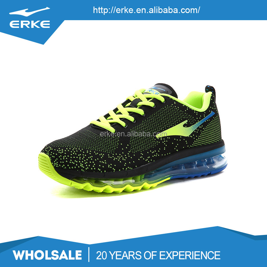 ERKE wholesale dropshiping brand breathable kintted mesh mens air cushion sport running shoes
