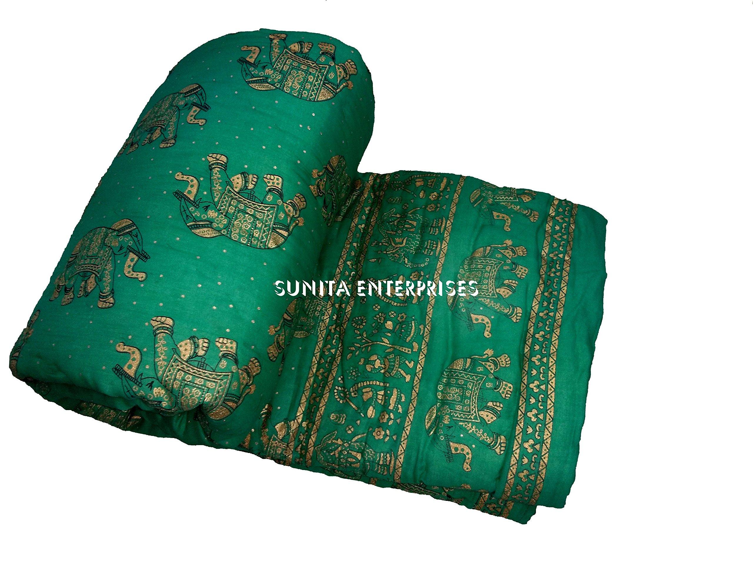 "Pure Elephant INDIAN Jaipuri Double Bed Cotton Razai , Handmade Stiched Jaipuri Rajai , Jaipuri Quilt ( Sanganeri Print Razai - Rajai ) With Cotton Filling By SUNITA ENTERPRISES (Green, 90""x105"")"