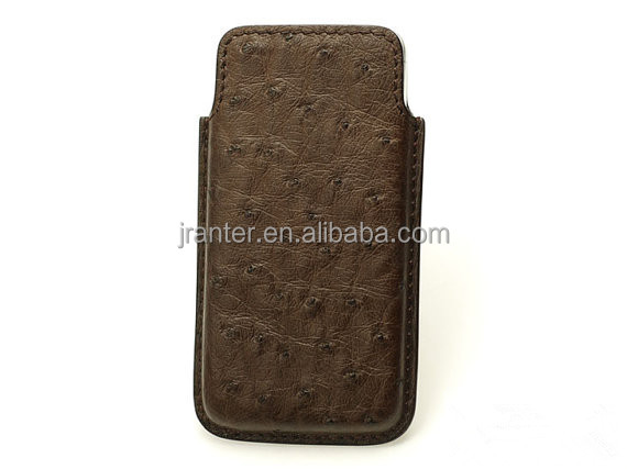 Wholesale luxury ostrich leather sleeve case,custom new design phone pouch